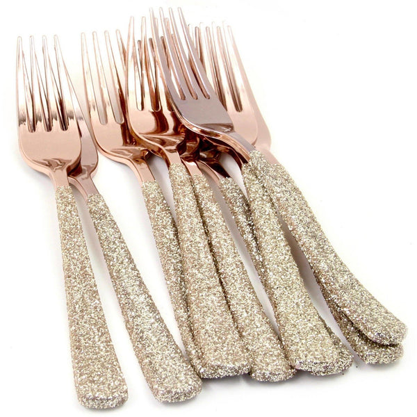 White Gold Glittered Rose Gold Fork, Tableware, Jamboree