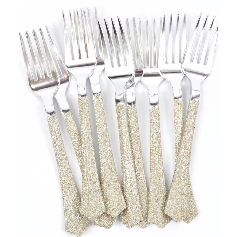 White Gold Glittered Silver Fork, Tableware, Jamboree
