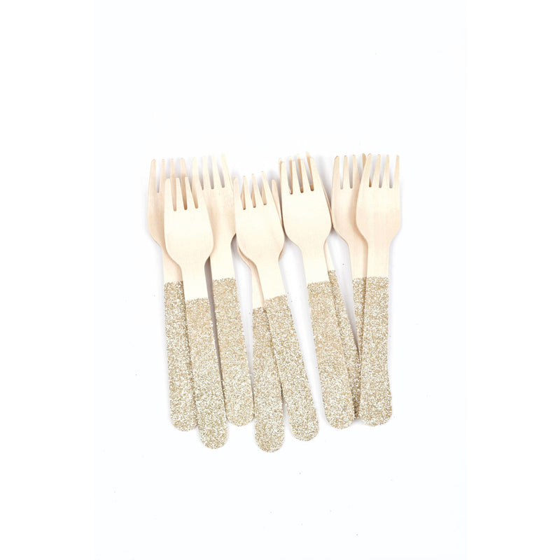 White Gold Glittered Wood Fork, Tableware, Jamboree
