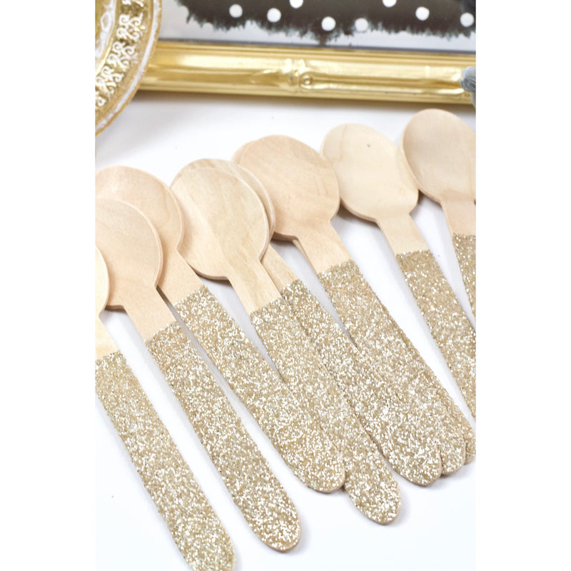 White Gold Glittered Wood Spoon, Tableware, Jamboree