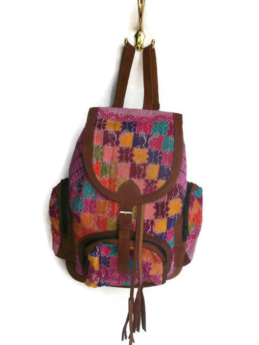 Embroidery floral suede leather backpack 896db3360e233