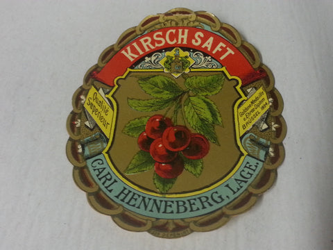 1930s 1940s WWII German Kirschsaft Cherry Juice Label