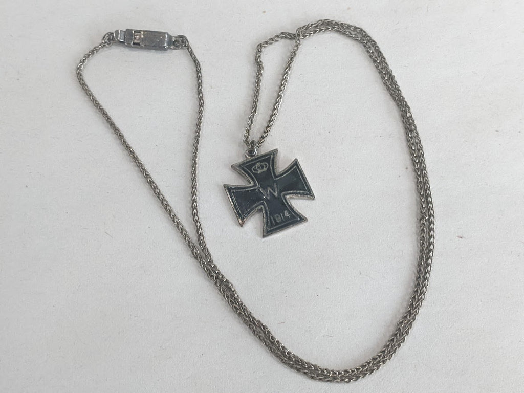 Original Vintage WWI German 1914 Iron Cross Sweetheart Necklace