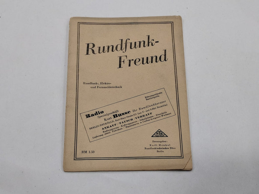Original WWII 1930's German Rundfunk-Freund Radio Booklet