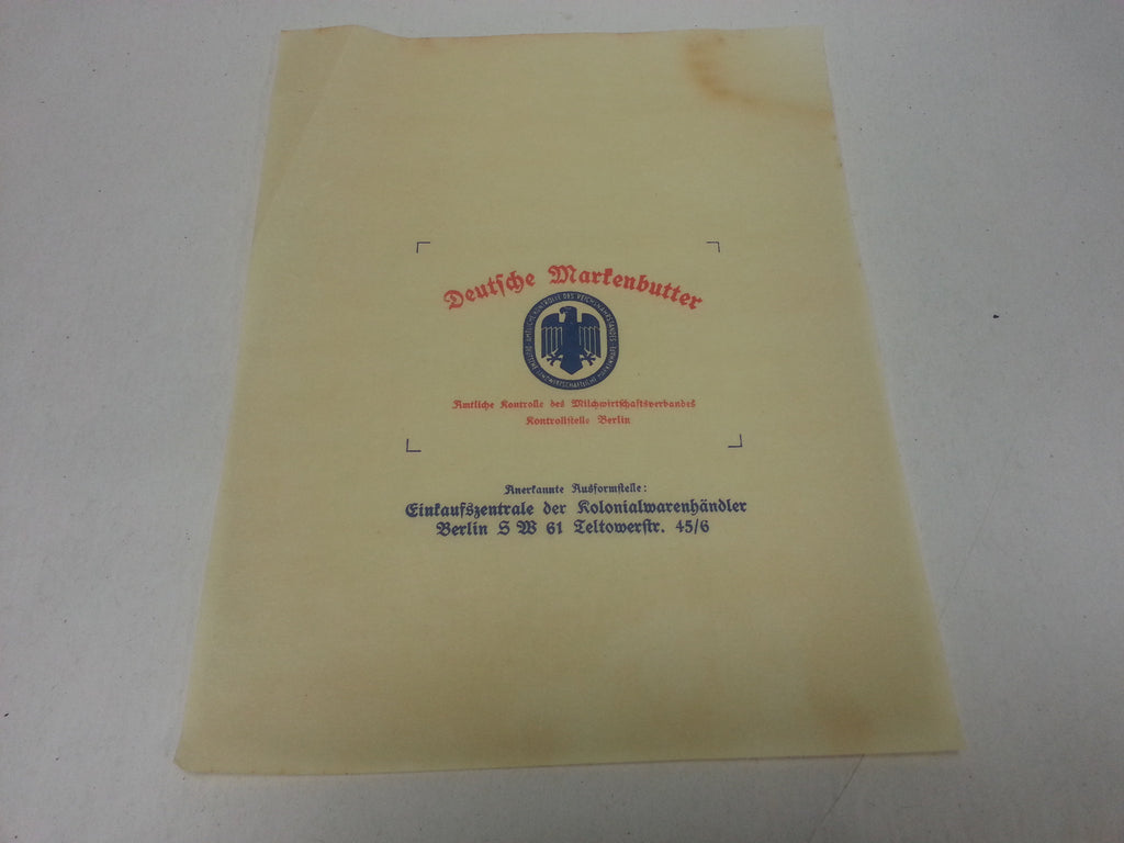 Original WWII German Butter Ration Wrapper / Packaging