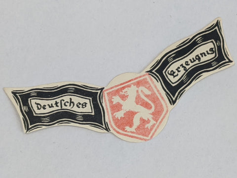 "Original WWII German ""Deutsches Erzeugnis"" Bottle Neck Label"