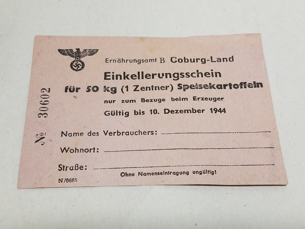 Original WWII German Potato Storage Certificate Coburg 1944 50kg