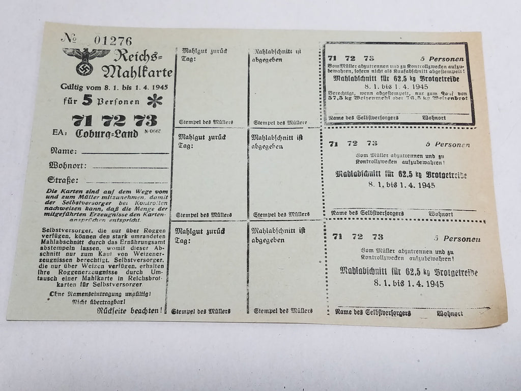 Original WWII German Ration Card Coburg 1945 Flour for 5 People