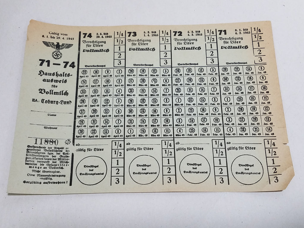 Original WWII German Ration Card Coburg 1945 Milk 71-74