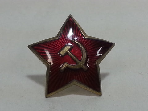 Original WWII Large Red Enamel Soviet Russian Cap Hat Star