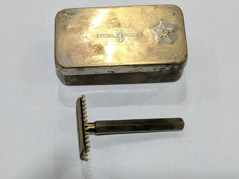 Original WWII Soviet Russian Brass Box and Razor