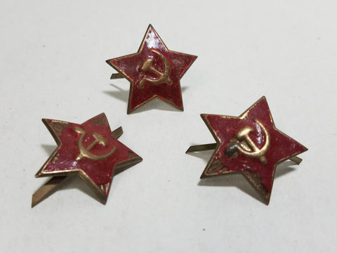 Original WWII Soviet Russian Small Red Enamel Cap Hat Star (AS-IS)