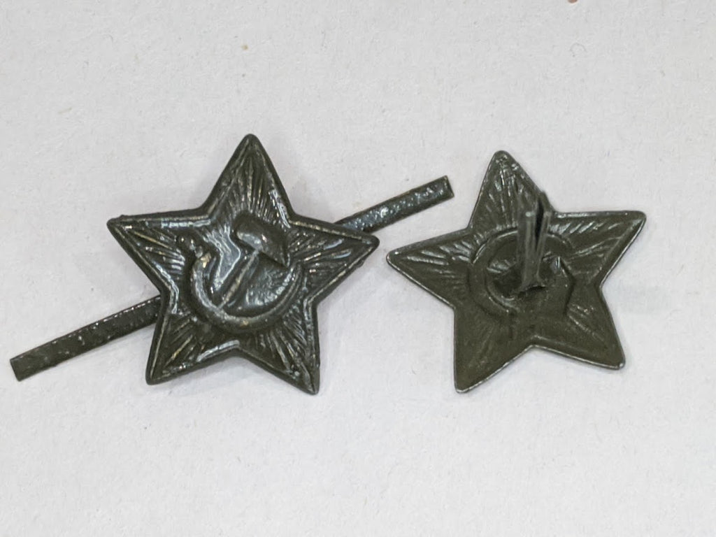Small Green Painted WWII Soviet Russian Hat Stars