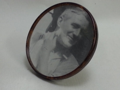 WWII German Foldable Round Shaving Mirror Brown Celluloid