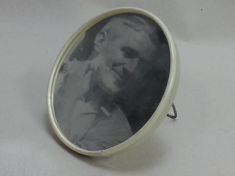 WWII German Foldable Round Shaving Mirror, White Celluloid