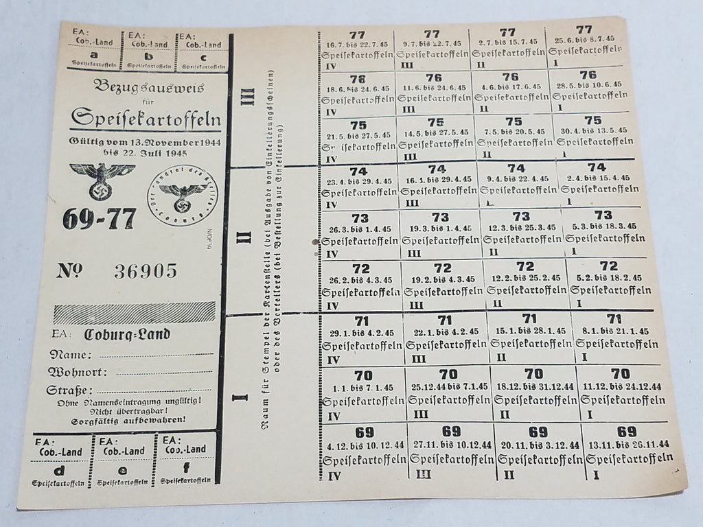 WWII German Ration Card Coburg 1944 Potatos 69-77