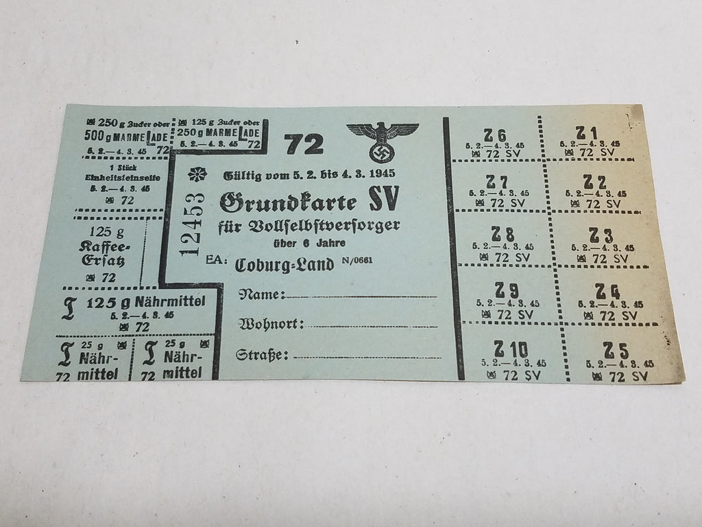WWII German Ration Card Coburg 1945 SV Marmelade, Kaffee, Seife, Food