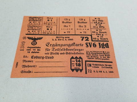 WWII German Ration Card For Meat & Dairy Coburg 1945 SV6