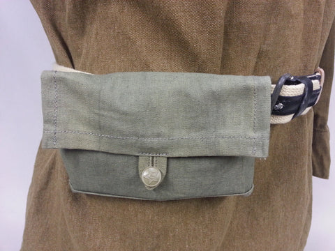 WWII Soviet Russian Reproduction Green Canvas Ammo Pouch