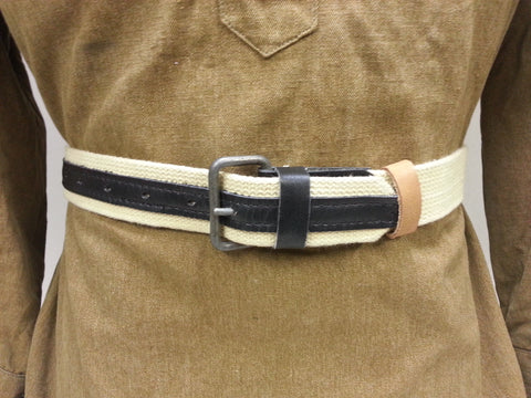 WWII Soviet Russian Tan Equipment Belt w Black Leather Reproduction