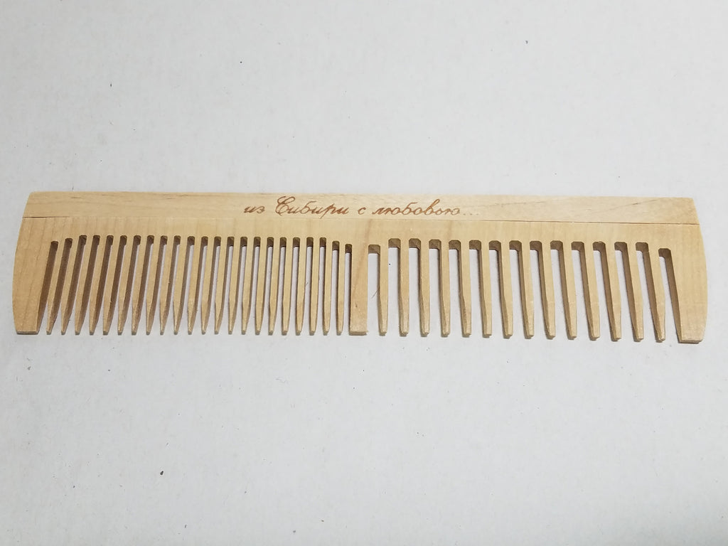 Wooden Comb with Russian Writing