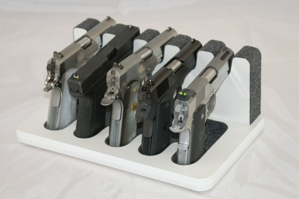 5 Slot Pistol Stand - P5-05 - Semi-Automatics, Full Size and Shorter barrels