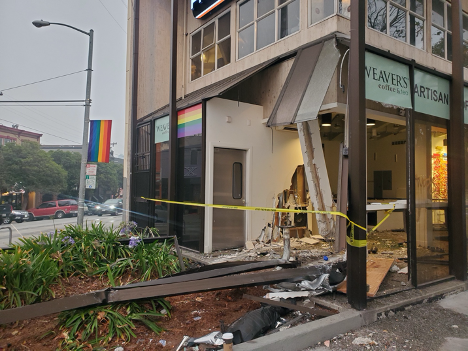 Weaver's Coffee & Tea Cafe in San Francisco Destroyed by Car Crash