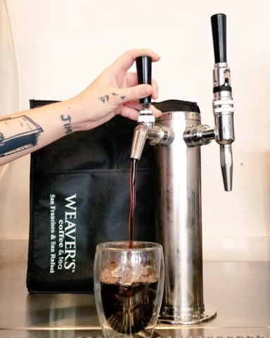 Weaver's Cold Brew Coffee being Poured into a Glass