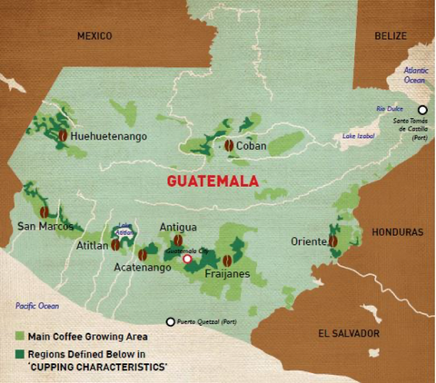 MAP GUATEMALA ANTIGUA COFFEE GROWING REGION