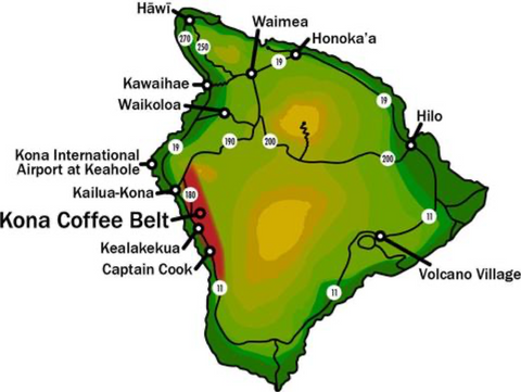 MAP OF THE BIG ISLAND OF HAWAII WITH KONA COFFEE GROWING REGION