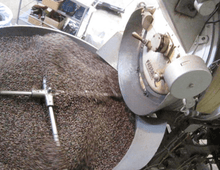 African coffee in the coffee roaster