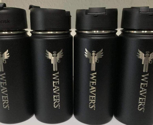 Black Hydroflask with Weaver's Coffee & Tea Logo