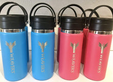 Weaver's Coffee & Tea Branded Hydroflask 16oz Coffee with Flex Sip in Blue and watermelon colors