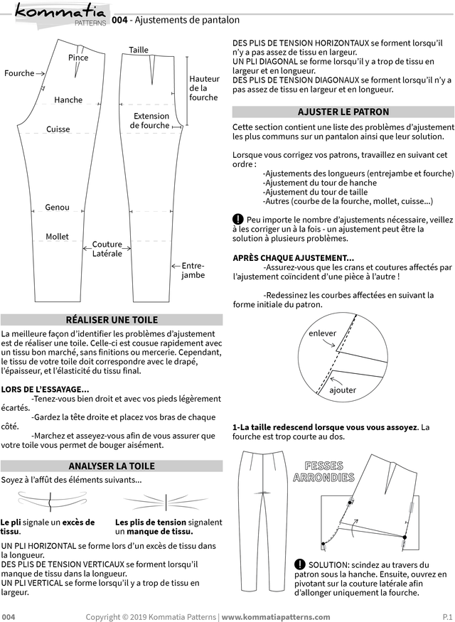 Pants fitting adjustments by Kommatia Patterns