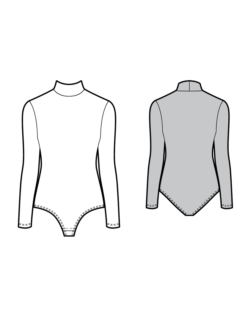 B004 Turtleneck bodysuit - PDF sewing pattern by Kommatia Patterns