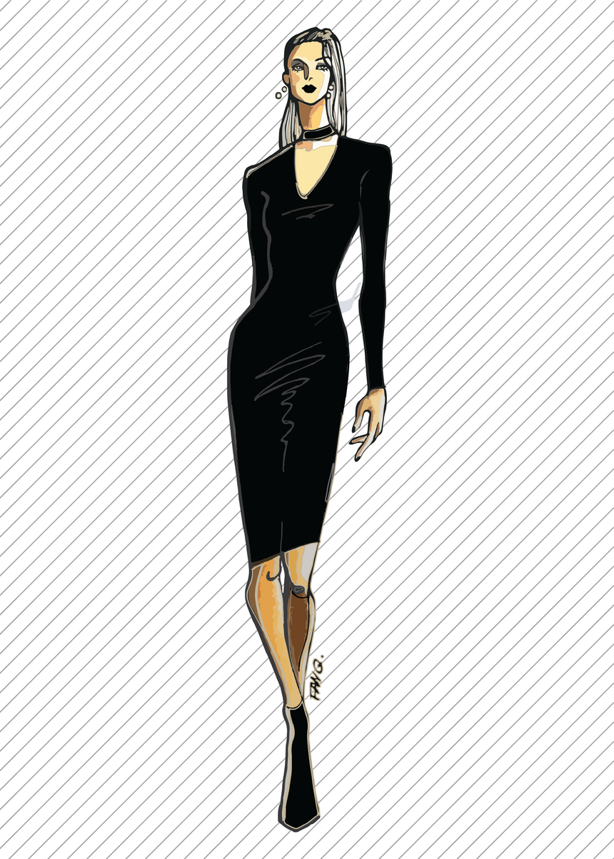 DR303 Bodycon cut-out dress - PDF sewing pattern