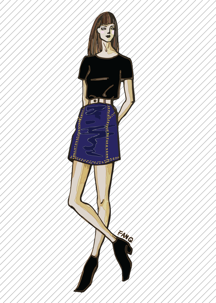 SK709 Short denim skirt with yokes PDF sewing pattern by Kommatia Patterns