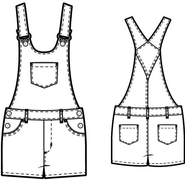 TR809 Short denim overalls - PDF sewing pattern by Kommatia Patterns