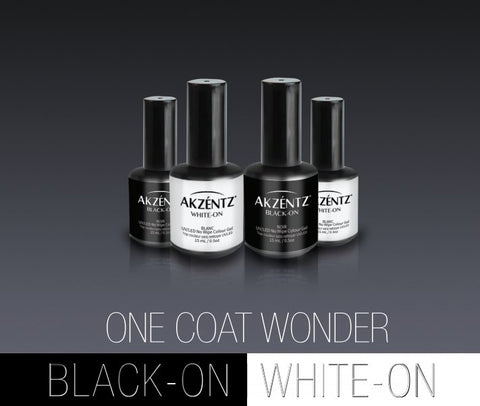 Akzentz Black-On/White-On No Cleanse Top Color for Chrome - The Nail Hub