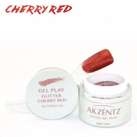 Akzentz Gel Play - Glitter Cherry Red - The Nail Hub