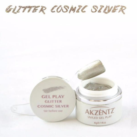 Akzentz Gel Play - Glitter Cosmic Silver - The Nail Hub