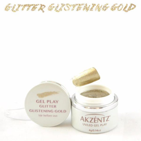Akzentz Gel Play - Glitter Glistening Gold - The Nail Hub