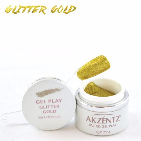 Akzentz Gel Play - Glitter Gold - The Nail Hub