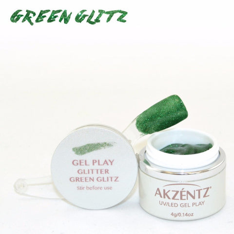 Akzentz Gel Play - Glitter Green Glitz - The Nail Hub