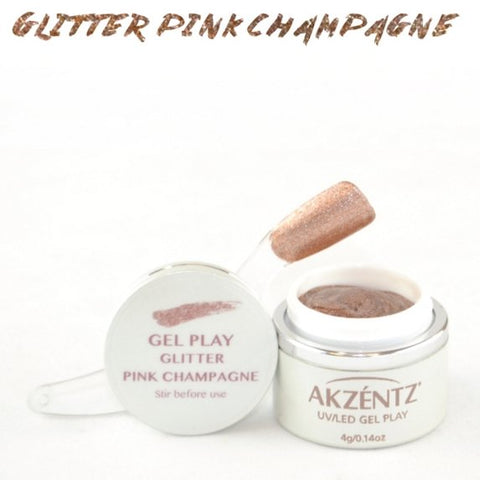 Akzentz Gel Play - Glitter Pink Champagne - The Nail Hub