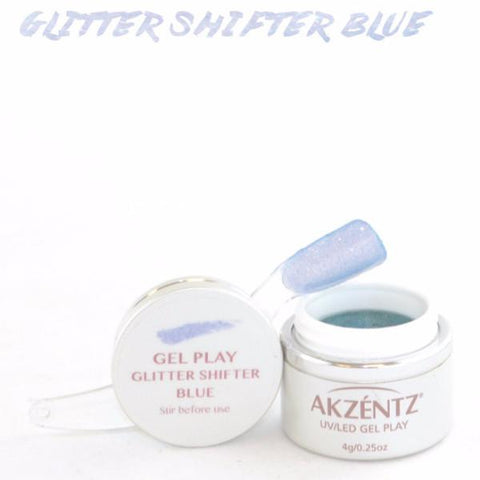 Akzentz Gel Play - Glitter Shifter Blue - The Nail Hub