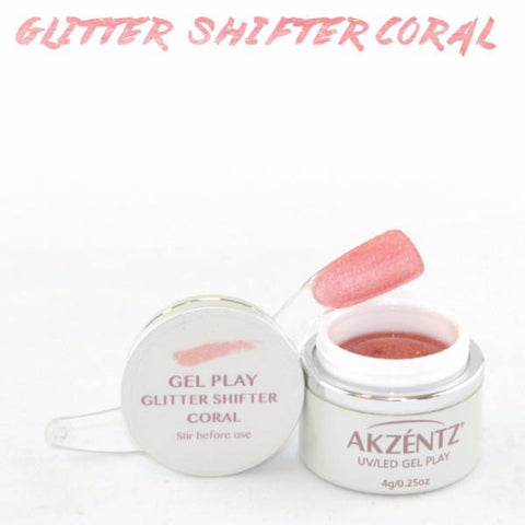 Akzentz Gel Play - Glitter Shifter Coral - The Nail Hub