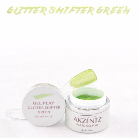 Akzentz Gel Play - Glitter Shifter Green - The Nail Hub