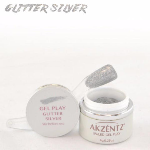 Akzentz Gel Play - Glitter Silver - The Nail Hub
