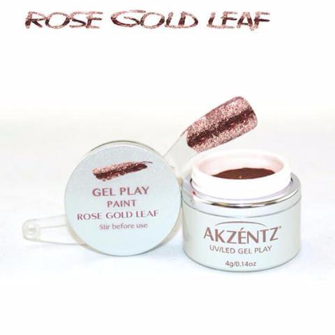 Akzentz Gel Play - Glitz Rose Gold Leaf - The Nail Hub